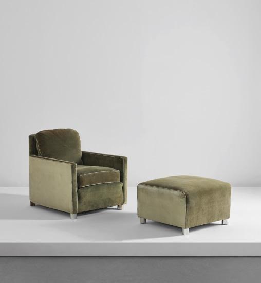 Rare armchair and ottoman
