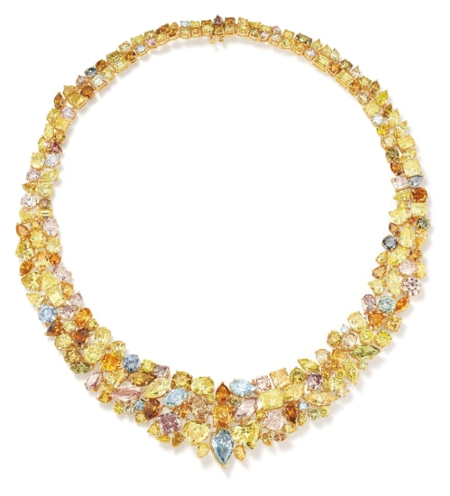 An Important Fancy Diamond, Colored Diamond and Gold Necklace