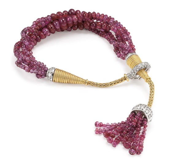 A Ruby, Diamond, Platinum and Gold Bracelet
