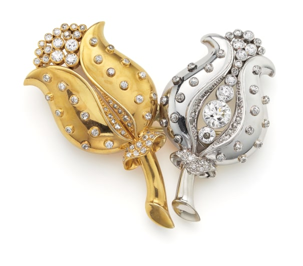 A Diamond and Gold Double Clip 'Tulip' Brooch