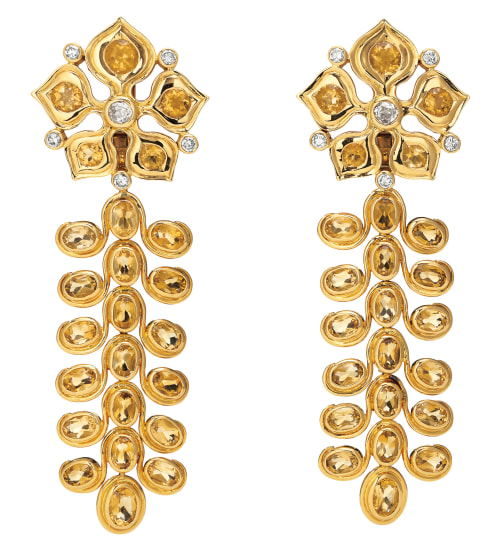 A Pair of Citrine, Diamond and Gold Earrings