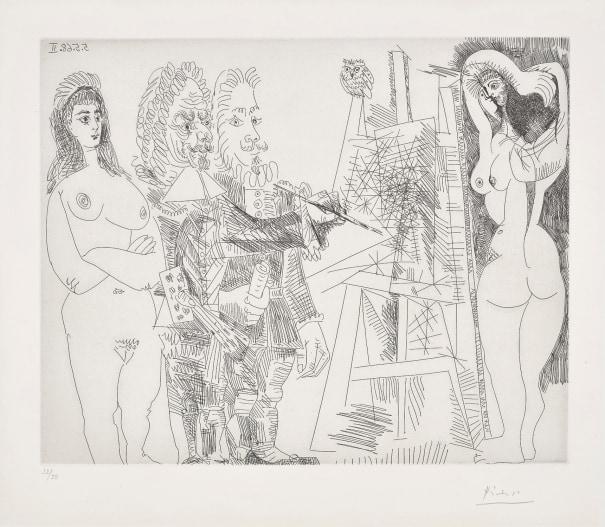 L'Atelier, avec un hibou et un envoyé officiel (The Studio, With an Owl and an Official Envoy), plate 65 from Series 347