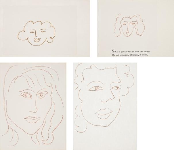 Florilège des amours de Ronsard (Anthology of Ronsard's Lovers): two plates; Visages (Faces): one plate; and Poésies antillaises (Caribbean poems): one plate