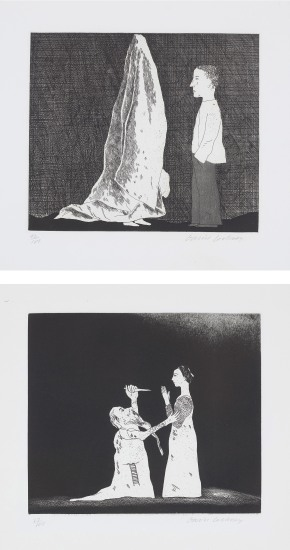 The Sexton Disguised as a Ghost; and Old Rinkrank Threatens the Princess, plates 20 and 30 from Illustrations for Six Fairy Tales from the Brothers Grimm