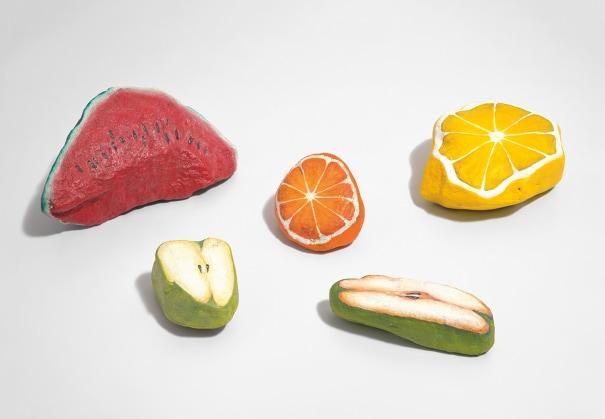 Five works: (i) Blakam's stone (watermelon); (ii) Blakam's stone (lemon); (iii) Blakam's stone (orange); (iv) Blakam's stone (pear); (v) Blakam's stone (apple)