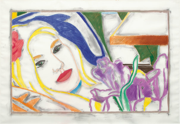 Reverse Drawing: Bedroom Blonde with Irises
