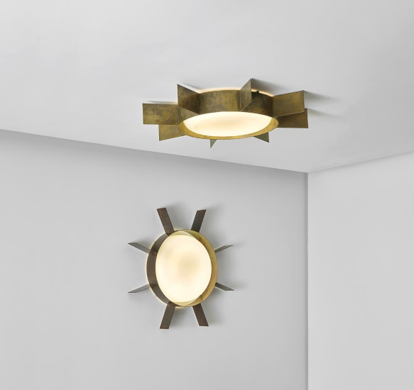 Pair of large 'Sole' ceiling or wall lights