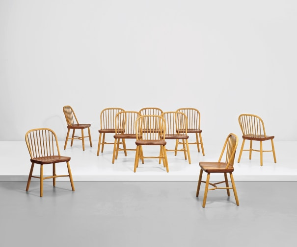 Set of ten dining chairs, designed for the canteen, Aarhus Oliefabrik A/S office building