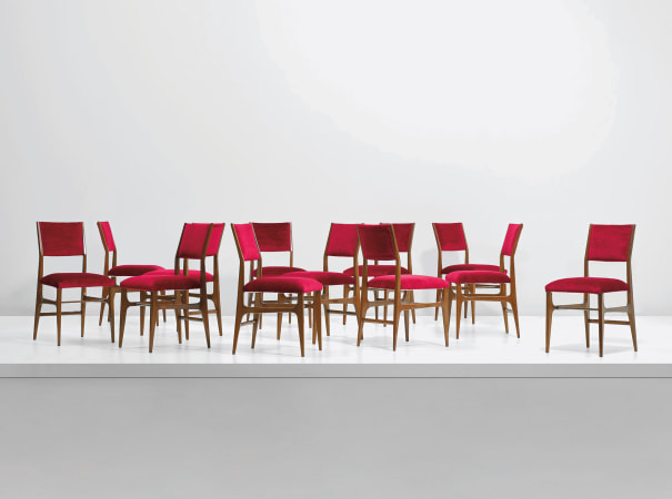 Set of twelve dining chairs, model no. 602