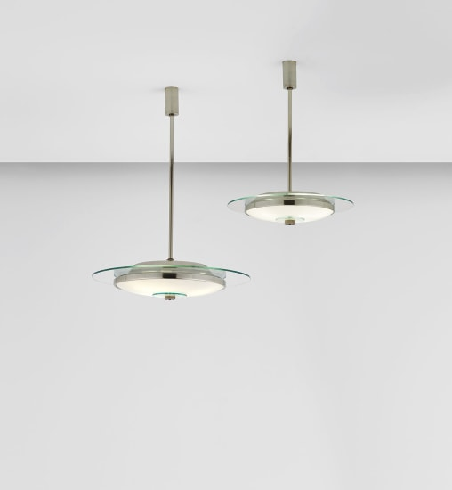 Two rare 'Padelle' ceiling lights