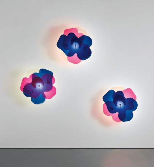 Set of three rare 'Vanesia' wall lights