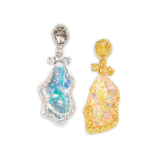 A Pair of Jelly Opal and Coloured Diamond Ear Pendants