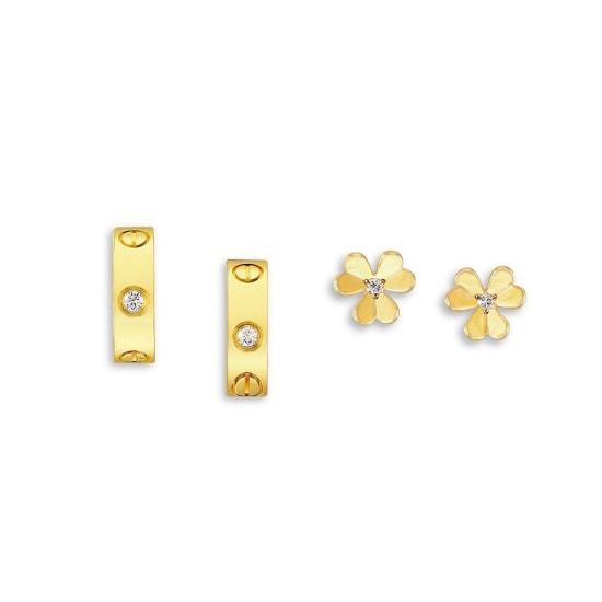 A Pair of Diamond and Gold 'Frivole' Earrings, Van Cleef & Arpels, and A Pair of Diamond and Gold 'Love' Earrings, Cartier