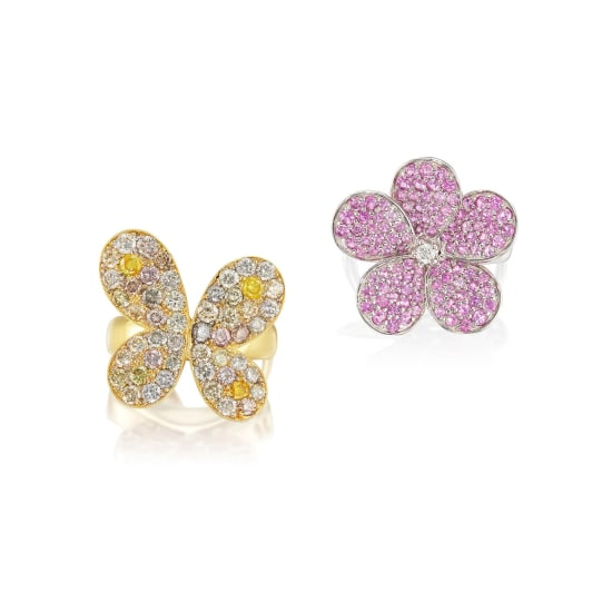 A Pink Sapphire and Diamond 'Flower' Ring, and A Coloured Diamond and Diamond 'Butterfly' Ring
