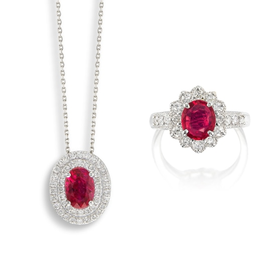 A Ruby and Diamond Ring, and A Ruby and Diamond Pendant Necklace