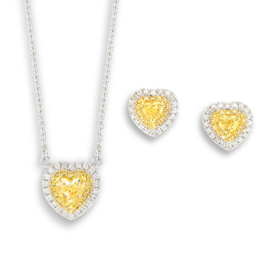 A Set of Coloured Diamond Pendant Necklace and a Pair of Matching Earrings