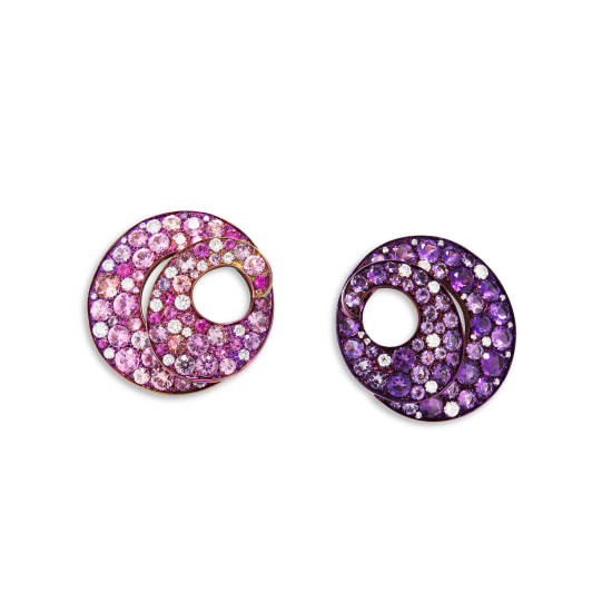 A Pair of Amethyst, Coloured Sapphire and Diamond Ear Clips, Margherita Burgener