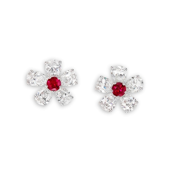 A Pair of Ruby and Diamond 'Flower' Earrings, Graff