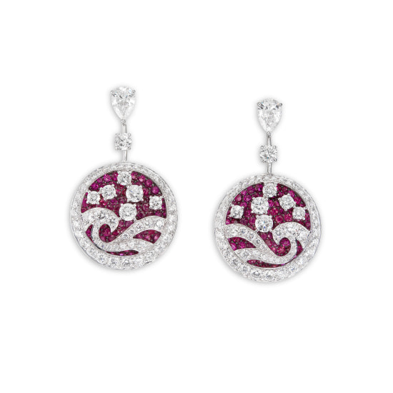A Pair of  Ruby and Diamond 'Wave' Ear Pendants, Graff
