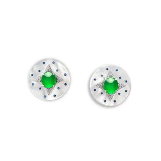 A Pair of Jadeite Cabochon, Gem-set and Diamond Cufflinks