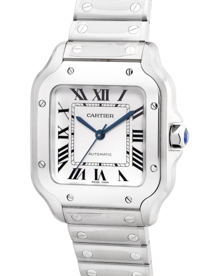 An attractive and well-preserved stainless steel square-shaped wristwatch with center seconds, bracelet, warranty and box