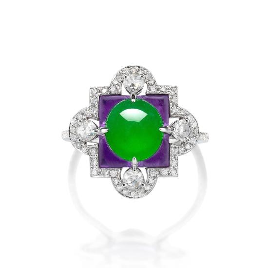 A Jadeite Cabochon, Amethyst and Diamond Ring