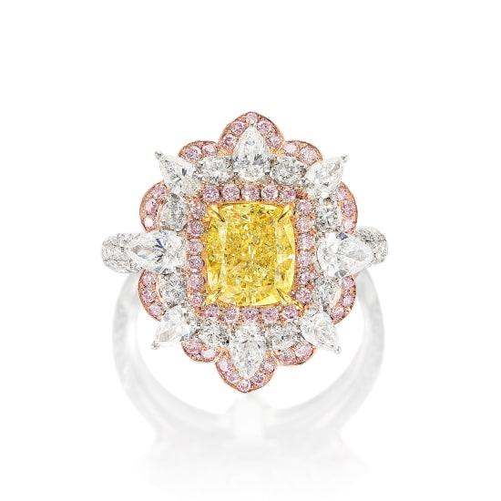 A Fancy Intense Yellow Diamond, Pink Diamond and Diamond Ring