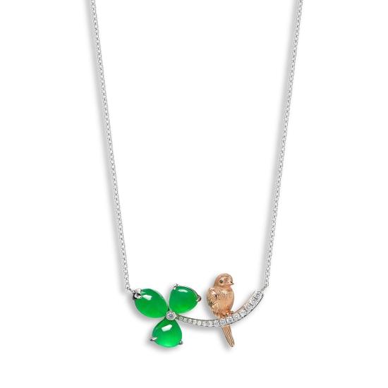A Jadeite and Diamond 'Trifolium and Bird' Necklace