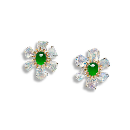A Pair of Jadeite Cabochon and Opal Earrings
