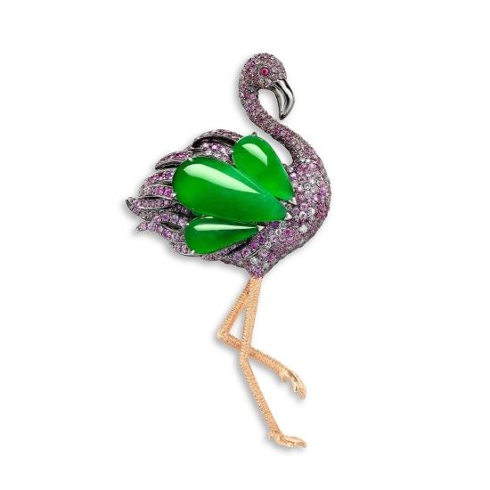 A Jadeite, Gem-set and Diamond 'Flamingo' Brooch/Pendant