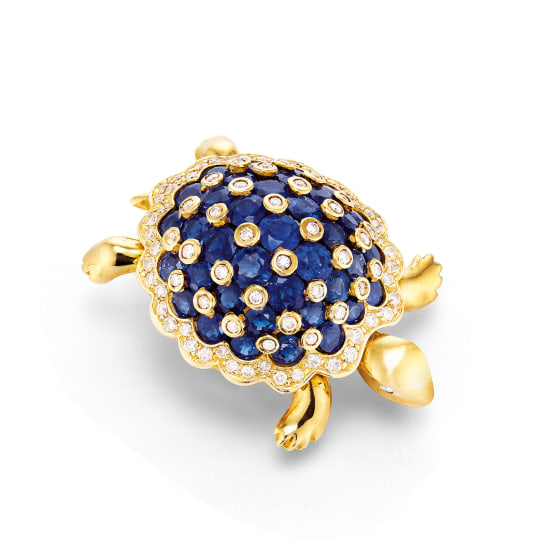 A Sapphire and Diamond 'Turtle' Brooch/Obi Clasp