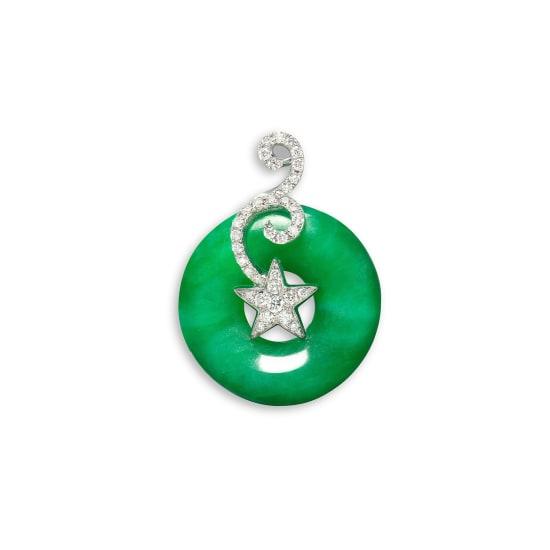 A Jadeite Hoop and Diamond Pendant