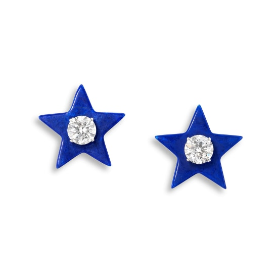 A Pair of Diamond and Lapis Lazuli Earrings