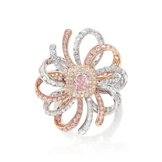 A Fancy Brownish Purplish Pink Diamond and Diamond Ring/Pendant