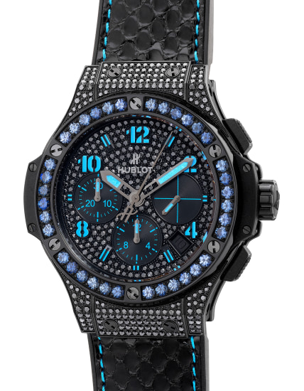 An extravagant limited edition PVD coated stainless steel and gem-set chronograph wristwatch with date and box, numbered 2 of a limited edition of 250 pieces