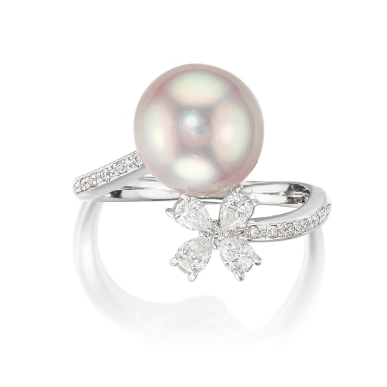 A Pink Cultured Pearl and Diamond Ring
