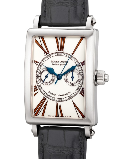 A fine and attractive limited edition white gold rectangular-shaped single-button chronograph wristwatch with certificate and box, numbered 5 of a limited edition of 28 pieces