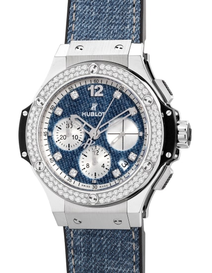 "A fine and attractive limited edition stainless steel and diamond-set chronograph wristwatch with date, ""Denim"" dial, diamond-set indexes and box, numbered 2 of a limited edition of 250 pieces"