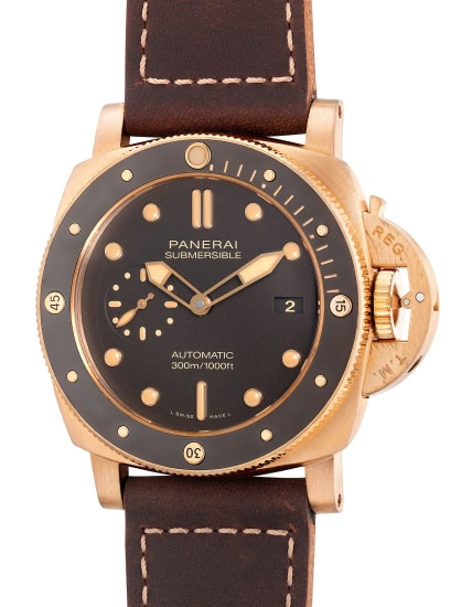 A fine and rare limited edition bronze diver's wristwatch with small seconds, date, warranty and box, numbered 43 of a limited edition of 1,500 pieces