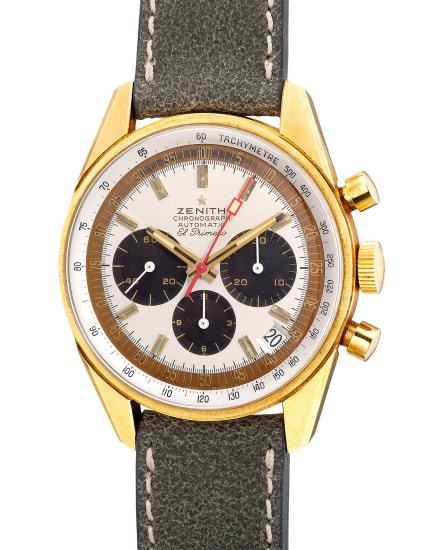 """A very fine and attractive yellow gold chronograph wristwatch with date and """"tropical"""" outer minute track"""