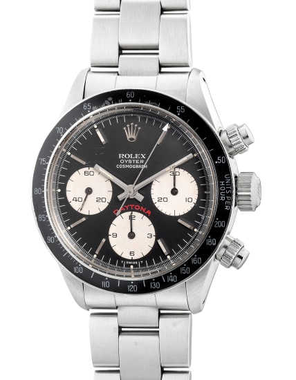 A very fine and rare stainless steel chronograph wristwatch with bracelet, guarantee and box