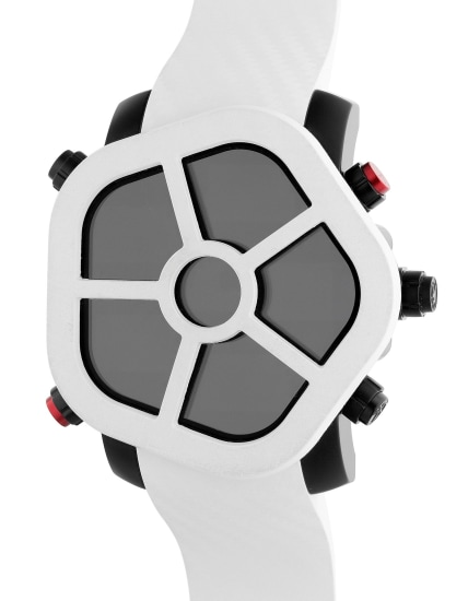 An eccentric PVD-coated stainless steel digital multi-time zone wristwatch with 5 LCD screens, certificate and box