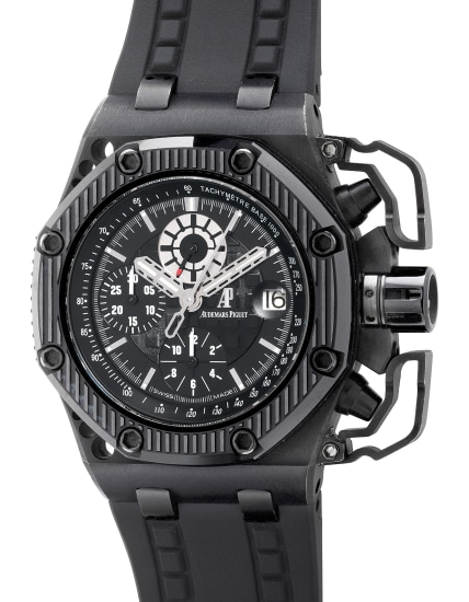 A fine and unusual limited edition blackened titanium and ceramic chronograph wristwatch with date, oversized chronograph pusher guards, warranty and box, numbered 655 of a limited edition of 1000 pieces