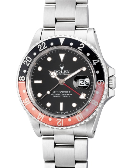 A fine and attractive stainless steel dual-time wristwatch with center seconds, date, bracelet, guarantee and box