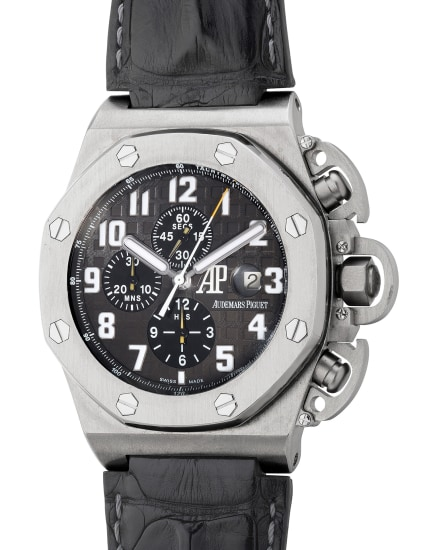 A fine, rare and large limited edition titanium chronograph wristwatch with date, guarantee and box, made in collaboration with Arnold Schwarzenegger for the film Terminator 3 - The Rise of the Machines