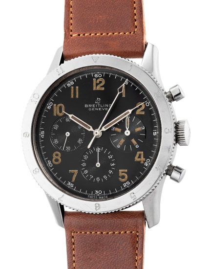 An attractive and rare stainless steel pilot's chronograph wristwatch