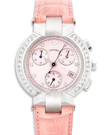 A lady's fine and attractive stainless steel and diamond-set chronograph wristwatch with date