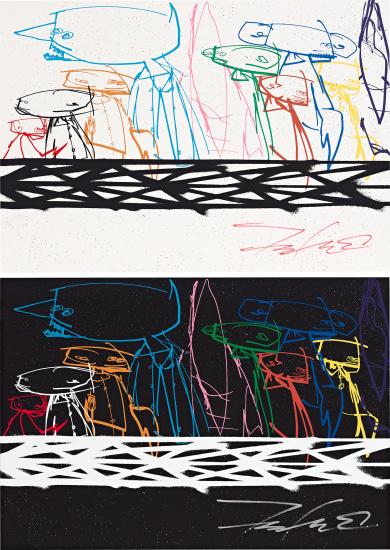 Two works: Community (i) (White); (ii) (Black)