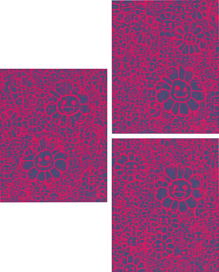 Three works: Flower Collaboration with MADSAKI (Pink) (i) A; (ii) B; (iii) C