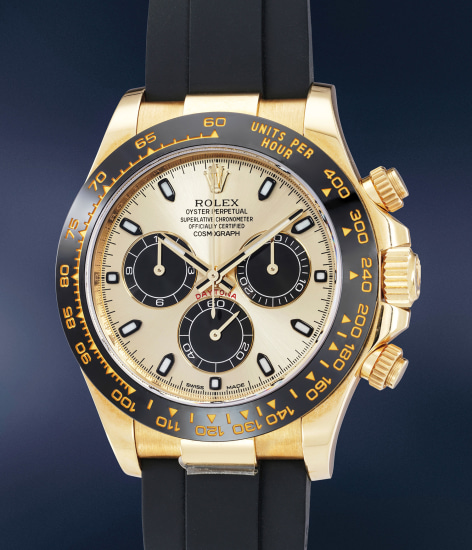 A rare and attractive yellow gold chronograph wristwatch with guarantee, hang tag and presentation box